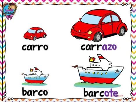 Aumentativo - carro, barco. Збільшувальні іменники - машина, корабель. Іспанська мова