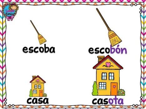 Aumentativo - escoba, casa. Збільшувальні іменники - мітла, дім. Іспанська мова
