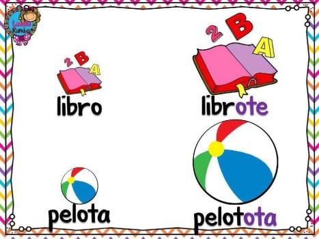 Aumentativo - libro, pelota. Збільшувальні іменники - книга, м'яч. Іспанська мова