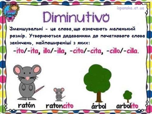 Diminutivo - зменшувальні іменники та закінчення (суфікси) в іспанській мові