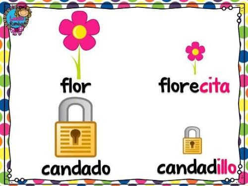 Diminutivo - flor, candado. Зменшувальні іменники - квітка, замок. Іспанська мова