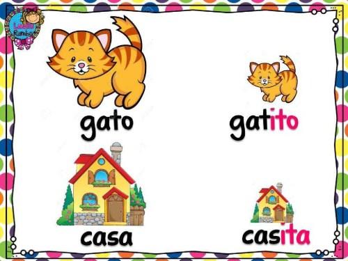 Diminutivo - gato, casa. Зменшувальні іменники - кіт, дім. Іспанська мова